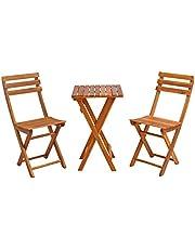 ESTEXO Balkonmeubelen, tuinmeubelen, houten meubels, acaciahout, tuinset, eetgroep, zitgroep, balkontafel, balkonstoelen, inklapbaar