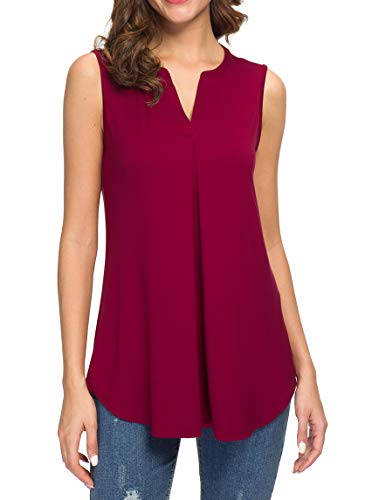 Neineiwu Women's Summer Sleeveless Tank Tops Sexy V Neck Lightweight Dressy Tunic Tops (Wine Red M) ()