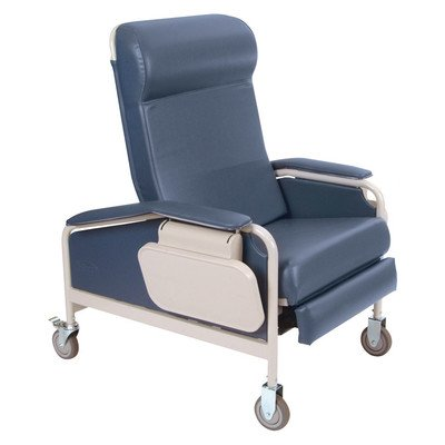 Three Position Extra Large Convalescent Recliner Color: Moss Green, Style: TB133 with IV Pole Left Rear