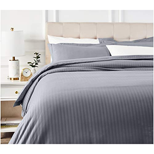 AmazonBasics Deluxe Striped Microfiber Duvet Cover Set - Full or Queen, Dark Grey