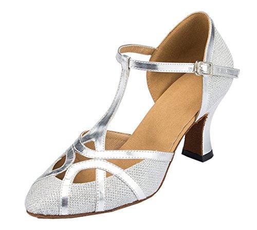 F & M piel sintética para mujer Mid tacón Salsa Tango salón de baile zapatos de baile latino Party CM101 plata