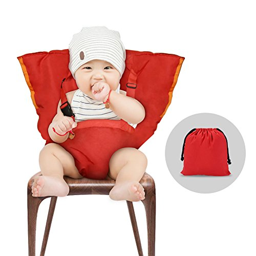 Folding Booster Chair (YISSVIC Baby Chair Belt Baby Chair Harness Baby Safety Seat Harness Portable Washable Cloth Red)