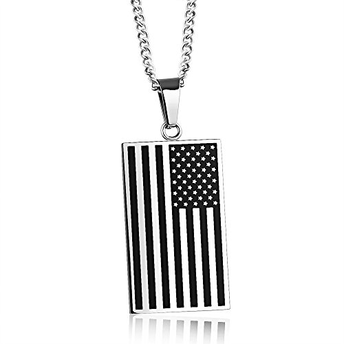 Flag Charm Pendant (ONGLYP Stainless Steel American Pattern US Flag Necklace Pendant USA Army Tags Jewelry Charms)
