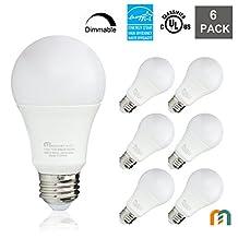 Mastery Mart LED A19 Dimmable 800 Lumen, 5000 Kelvin, Daylight, 10 Watt (60 Watt Equivalent) Light Bulb, E26 Medium Base, UL, Energy Star, 6 Pack