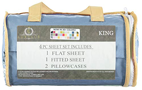 Tree Blue Bamboo (LuxClub 4 PC Sheet Set Bamboo Sheets Deep Pockets Eco Friendly Wrinkle Free Sheets Hypoallergenic Anti-Bacteria Machine Washable Hotel Bedding Silky Soft - Sky King)