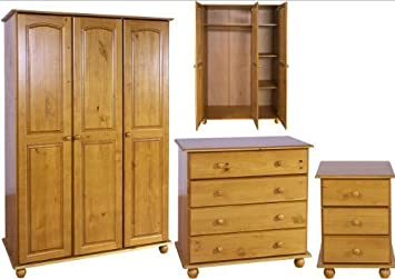 Solid Pine Bedroom Furniture Set   3 Door Wardrobe, Drawers, Bedside    Hampshire Solid