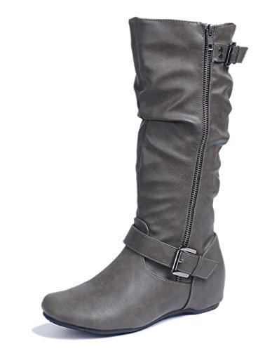 AgeeMi Shoes Womens Zipper PU Wedge Heel Comfortable Warm Casual Boots Gray