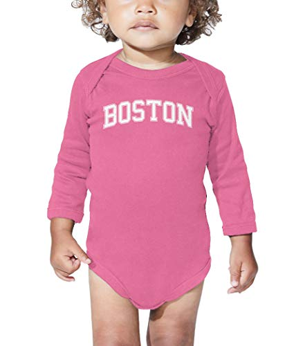 HAASE UNLIMITED Boston - State Proud Strong Pride Long Sleeve Bodysuit (Pink, Newborn)