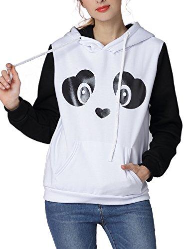 Fleece Print Pullover (ZIUMUDY Womens Casual Long Sleeve Cute Panda Print Fleece Sweatshirt Hoodie Tops (Large, Panda))