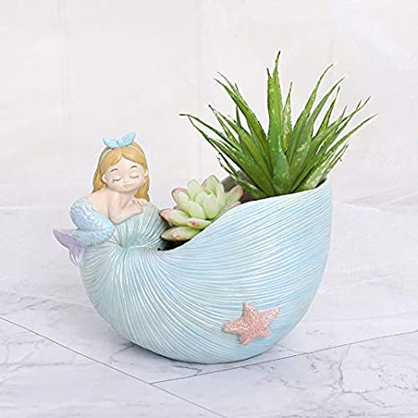 Amazon.com: Cupcinu - Maceta de resina con forma de sirena ...
