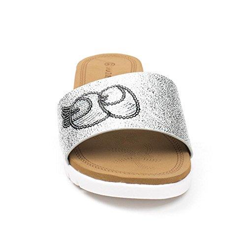 Ideal Shoes, Damen Zehentrenner Silber