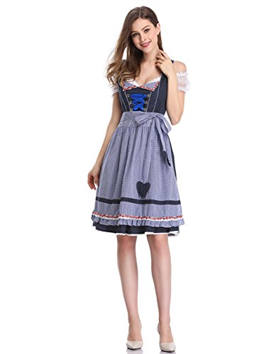 (Clearlove Women Bavarian Dirndl Set Plus Size Dress 3-pieces with Apron and Blouse Blue Polka Dot 2XL)