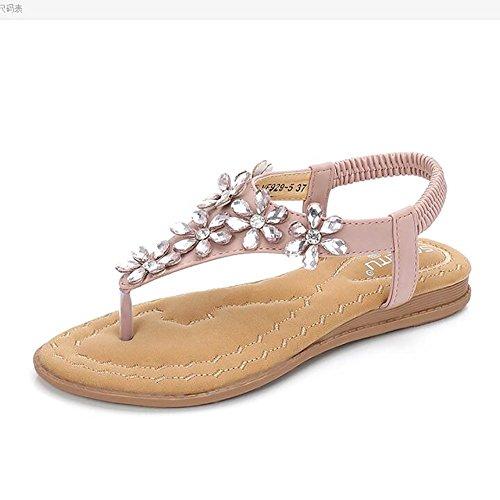Pink Playa Señoras Verano Apricot EU39 SHANGXIAN Chanclas Sandalias CN39 Ligero Zapatilla US8 UK6 ARWqAanx7