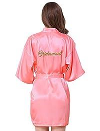 JOYTTON Satin Kimono Wedding Party Getting Ready Robe with Gold Glitter