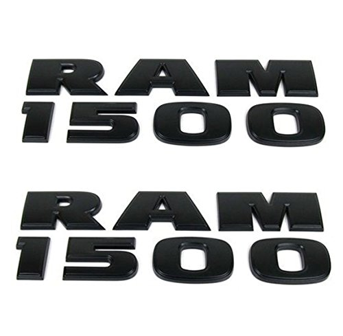 Yoaoo® 2x GENUNE Black Dodge RAM 1500 Emblem Badge 3D Emblem Decals Nameplates Flat Letter Matte OEM 23172681