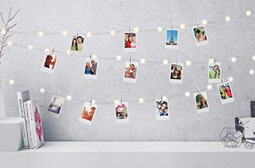 Firefly LED Mini Clip String Lights, 25 White LED Lights,10ft, 12 Photo Clips,Battery Operated for Photos/Home Décor/Indoor/Outdoor/Party/Christmas/Birthday/Wedding/Festival ,White Iridescent Clips
