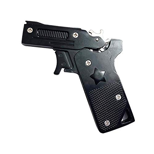Black Semi Automatic Gun - Sunny Hill Classic Folding 6 Bursts Rubber Band Gun Semi-Automatic Portable Zinc Alloy Toy (Black)