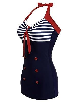Goldenfox Retro Bathing Suit Women's Vintage One Pieces Padded Striped Monokini Beach Swimwear M-XXXXL