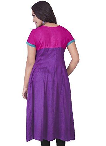 IndusDiva Women's Violet and Magenta Cotton Anarkali Kurta