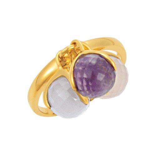 18K Yellow Gold Vermeil Multi-Gemstone Ring Size 8