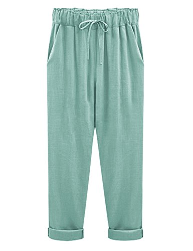 Yeokou Women's Casual Loose Baggy Linen Drawstring Summer Thin Cropped Harem Pants (XX-Large, Green) (Pants Green Cropped)