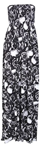 Size Boob Plus Womens 8 Dress 26 Printed Sheering Stretch Tube Maxi SKULL ROSE Ladies znfrFqwf05