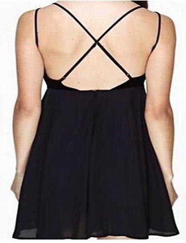 PU&PU Robe Aux femmes Noir Street Chic,Couleur Pleine A Bretelles Au dessus du genou Polyester , black-one-size , black-one-size