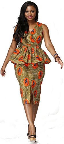 Shenbolen Women African National Costume Suit Printed Shirt + Skirt (X-Large, Multicolor) (National Costume)