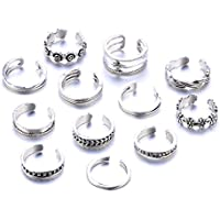 12PCs/set Celebrity Jewelry Retro Silver Adjustable Open Toe Ring Finger Foot by khim