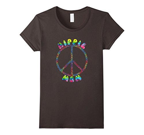 1970's Womens Hippie Shirt (Womens Vintage Retro 1970s Tie Dye Hippie Mom Peace Sign T-Shirt Medium Asphalt)
