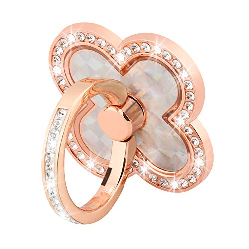 Cell Phone Ring Stand Holder, Nsiucion Four Leaf Clover Style Bling Diamond Crystals Full Degree Rotation Metal Finger Ring Phone Grip Kickstand Holder for All Mobile Phones and Tablets (Rose Gold)