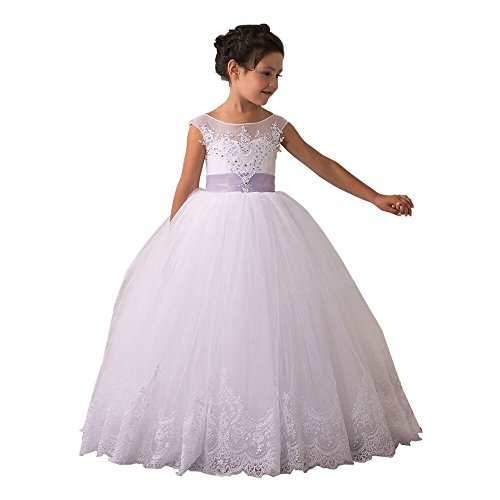 Flower Girls Dresses Long Vintage Lace First Communion Pageant Ball Gowns (Size 8, White with Purple Bow)]()