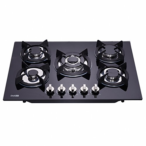 DeliKit DK156-A01 27.5 inch gas cooktop gas hob 4 Burners LPG/NG Dual Fuel 5 Sealed Burners Kitchen Slope Edge Tempered Glass Built-in Gas Hob gas Cooktop 110V AC pulse ignition