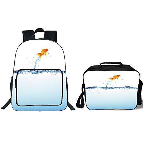 iPrint 19'' School Backpack & Lunch Bag Bundle,Aquarium,Little Goldfish Leaping Out of Water Bravery Challenge Freedom Theme Decorative,Blue Light Blue Orange,for Boys Girls by iPrint