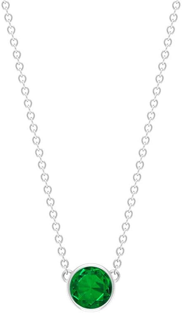0.48 CT Bisel Set Solitario Certificado Esmeralda Collar Colgante, Piedra de Nacimiento de Mayo, Boda, Boda, Aniversario, Vintage Charm Cadena Colgantes Regalos