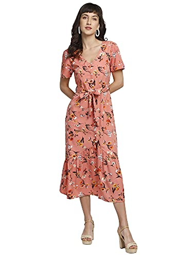 You Forever Womens Latest Summer Floral Printed Front Buttoned Style Pink Dress Short Sleeve Calf Length Sundress with Detachable Hem Belt Comfortable wear