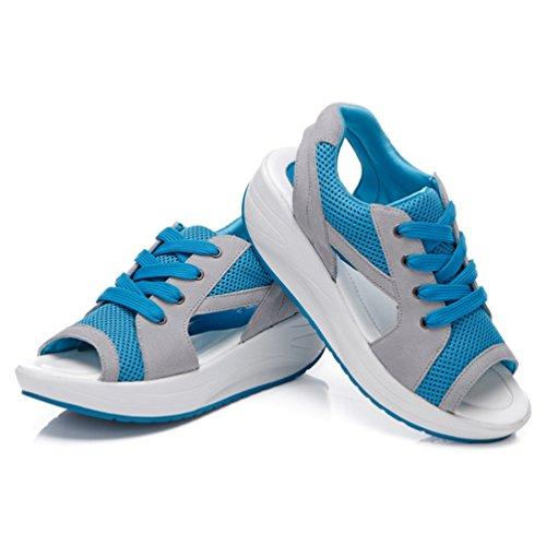 35 Femmes Respirant Filet Bleu 40 Talons Sandales Plateformes Chaussures Mode de Antidérapantes qZzBt