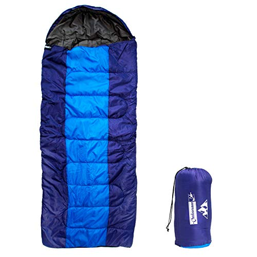 Outdoorsman Lab Sleeping Bag | Lightweight Backpacking & Camping Sleeping Bag for Adults & Kids | 3 Season, Durable Ripstop Nylon, Tear & Water-Resistant Shell | Incl Compression Sack (XL-Dark Blue)