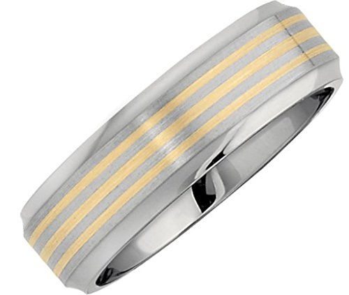 Satin Titanium and 14k Yellow Gold 7mm Flat Beveled Comfort Fit Band, Size 10 by The Men's Jewelry Store