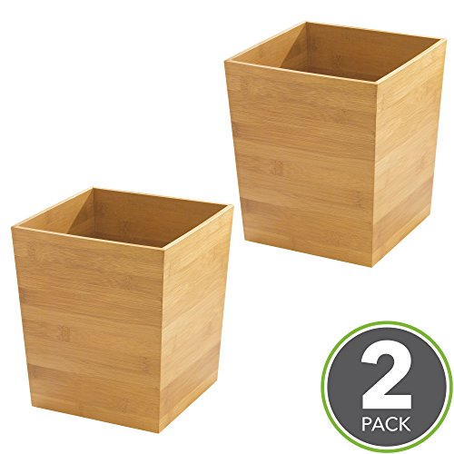mDesign Square Trash Can Wastebasket, Small Garbage Container Bin for Bathrooms, Kitchens, Home Offices, Craft Rooms and more - Pack of 2, Natural Bamboo (Bamboo Trash Bin)