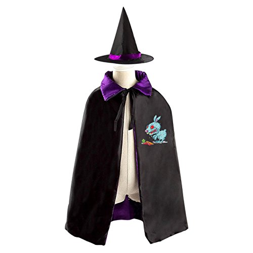 Zombie Rabbit Reversible Halloween Cape and Witch Hat for Kids (The Joker Halloween Costume Homemade)