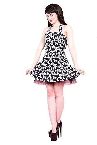 Corazones y Rosas H y R Vintage 50s Retro Blanco y Negro Mini vestido de lazo