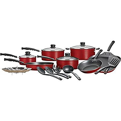 Mainstays 18 Piece Pots And Pans Set, Non Stick Cookware Set, Aluminum, RED