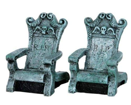 An Figurines Miniature Dollhouse Fairy Garden Tombstone Chairs - Set of 2