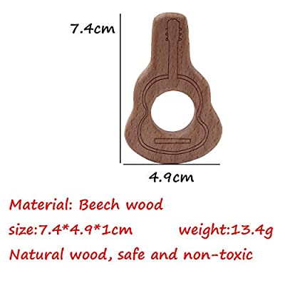 Alenybeby 2pcs Wood Teething Toys Cute Guitar Sharp Teether Rings for Infant Toddler Soothing Pain Relief Toys (Guitar 2pcs): Toys & Games