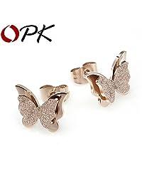 Slyq Jewelry Chic Retro Dull Polish Ear Clip Butterfly Flower Rose Gold Plated Ear Cuff Stud Earring Wrap Clip On Ear283