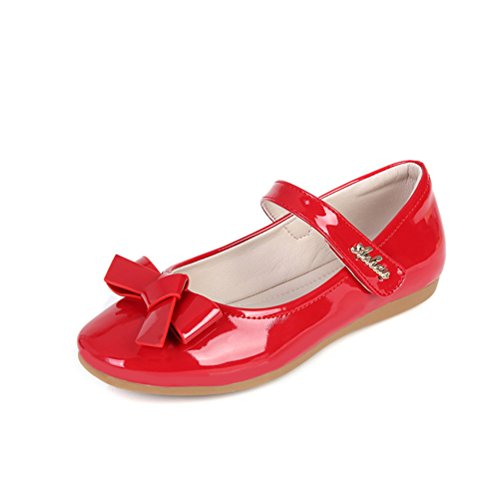 Always Pretty Flower Ballet Flat Dress Shoes Princess Shoes (Toddler/Little Kid/Little Girls) Red 2 M