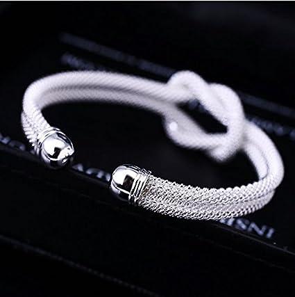 90e2d3d8200e homiki nudo pulsera malla sólido Creative especial bañado en plata pulsera  regalo plata de ley 925 maciza  Amazon.es  Hogar