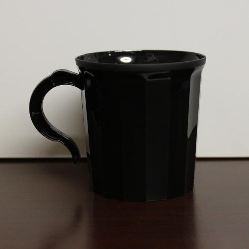 Case 288 - Black Plastic Coffee Mug Disposable / Reuseable Drinking Cup with Handle