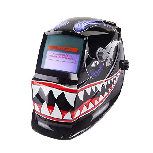 Holulo Solar Power Auto Darkening Welding Helmet Wide Viewing Field Welder Hood for MIG TIG ARC Cap Mask (Shark mouth)